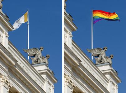 Bilden till vänster, föreställandes Universitetshuset, är tagen av Mikael Risedal och kommer från LU:s bildbank under kategorin Fri publicering. Den högra bilden är ett montage med en regnbågsflagga fotad av Benson Kua och licensierad under Creative Commons.